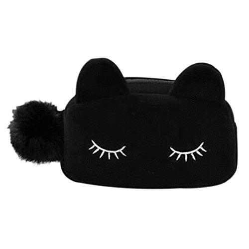 Joyfeel buy 1 pièce Trousse de Maquillage Sac à cosmétiques Chat Form Mignon Pochette Cosmétique Sac de Toilette Maquillage Cas pour Femme (Noir)