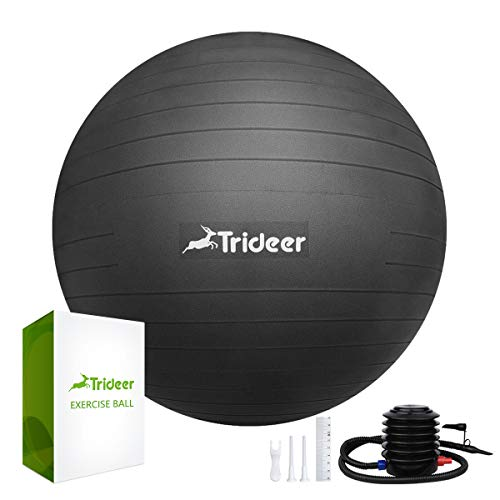 Trideer Exercise Ball (Multiple Colours), 45-85cm Gym Ball Supports 2200lbs, Anti-Burst & Extra Thick, Swiss Ball with Quick Pump, Birthing Ball for Yoga, Pilates, Fitness, Pregnancy & Labour