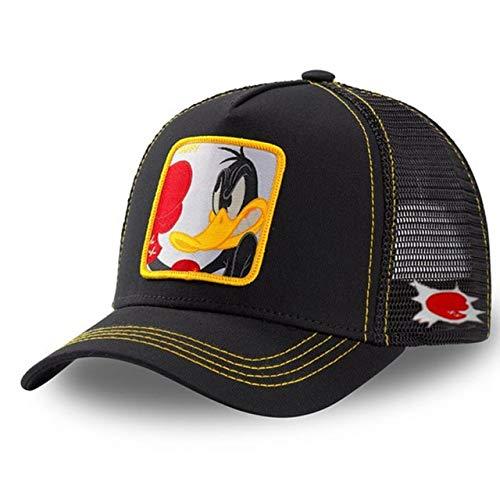 Gorra de bisbol Snapback de Dibujos Animados Hombres Mujeres Hip Hop Dad Mesh Trucker Hat-Box Duck Black