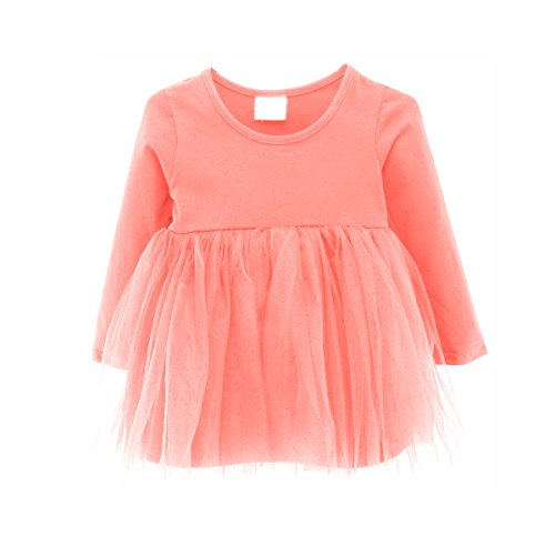 Baby Girl Dress Toddler / Kids Pleated Princess Tutu Skirt with Tshirt Top (86cm(12-18M), pink)