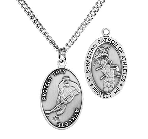 WJH Hockey Saint Sebastian Pewter Medal on 24 Continuous Chain,...