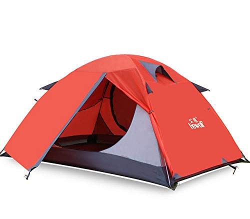 Mdsfe Hewolf Outdoor Ultralight Camping 2 People Aluminum TentDouble Layer Waterproof Camping Tent Carpas De Camping-Red,A2
