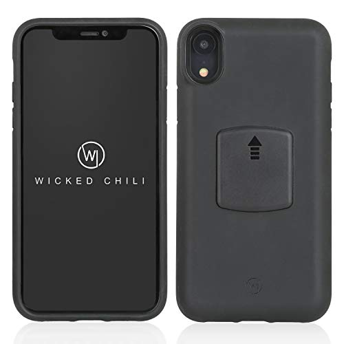 Wicked Chili QuickMOUNT Case Schutzhülle für Apple iPhone XR Handy Smartphone Schale, iPhone XR Schutzhülle (6,1 Zoll) für induktives Qi-Laden, schwarz, iPhone XR Case