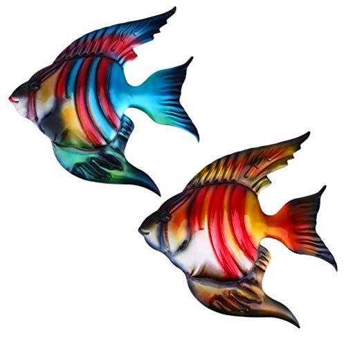 Hemoton 2St. Fisch Wanddekoration Metall Wandfigur Tropischer Fisch Figur Wandkunst Wandbild Wandobjekt Meerestiere Figuren Ornament für Geburtstag Hochzeit Weinachten Party Wanddeko