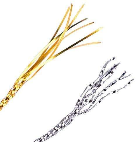 Cuerdas Elásticas Metálicas,2 PCS Cordón Metálico de Oropel Cinta de Cordón Estirable Nailon Cuerda para Manualidades Pulseras Joyería Envoltura 1mm 218 Yardas