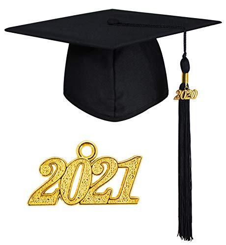 GraduationMall Doktorhut Studentenhut,Uni Abschluss Hut 2021 Anhänger Quaste für die Abschlussfeier vom Hochschule,Abitur,Bachelor Hut Schwarz
