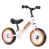Children's bicycle Bicicletta per Bambini Acciaio al Carbonio per Biciclette, Auto Scorrevole A Catena con Pattini A Rulli Lampeggianti Senza Catene 2-3-6 Anni per Bambini (Rosso, Bianco, Nero)