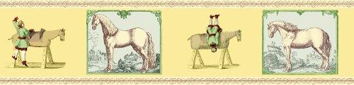 3er Set GMM Voltigier Bordüre, Tapetenborte - individuelle Pferde Tapeten Borte mit Reitern in gelb, 3x5m, ideal zum Einzug, Umzug, Renovierung um Zimmer, Küche, Gänge, WC aufzupeppen