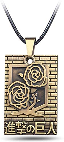JIUJIN Anime Attack On Titan Bronze Metal 2 Rows Cosplay Jewlery Roses Badge Pendant Necklace
