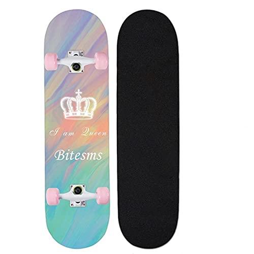 """Skateboards para principiantes, 31 """"x8"""" Monopatín completo para niños adolescentes y adultos, 7 capas Canadiense Maple Wood Doble patada cubierta Concave Standard and Tricks Skateboard ( Color : W )"""