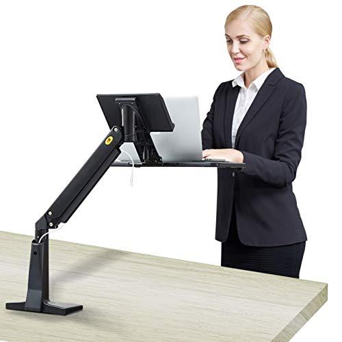 NB North Bayou Sit Stand Laptop Mount Stand Arm Height Adjustable Computer Standing Desk Workstation for 11''-17'' Notebook (Black)