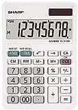 Sharp EL-310W Tischrechner mit abgewinkelte Anzeige (8-stelligem Display, Solar-/Batteriebetrieb) weiß