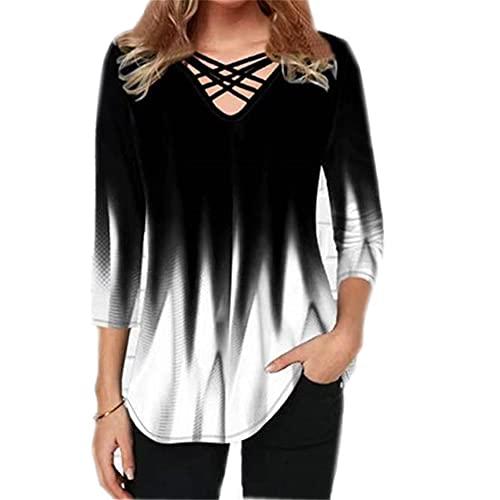 Elesoon Camiseta de verano para mujer, talla grande, manga corta/media, degradado, color degradado, con cuello en V, con cuello en V, C-blanco, 42