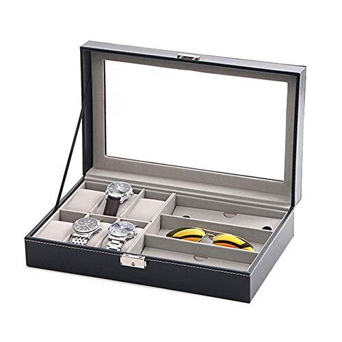 HYCy Faux Leder 6 Uhrenbox, 3 Stuuml;ck Brille Uhrenkasten Mit Glasdeckel, Schmuckbox Holder Case (Farbe : Schwarz)