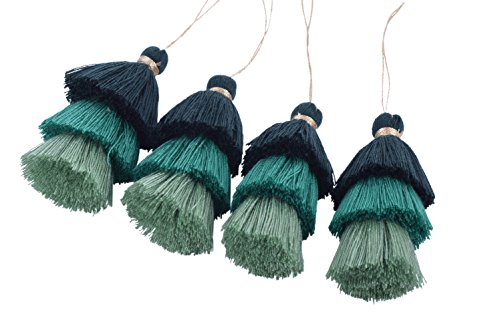 KONMAY 4pcs Tri-Layered Tassels with Hanging Loop for Jewelry Making, Clothing