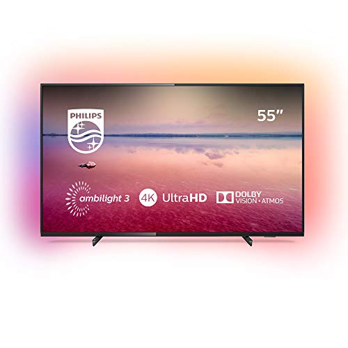 Philips 55PUS6704/12 - Televisor Smart TV LED 4K UHD, 55 pulgadas, Ambilight 3 lados, HDR 10+, Dolby Vision, Dolby Atmos, color negro