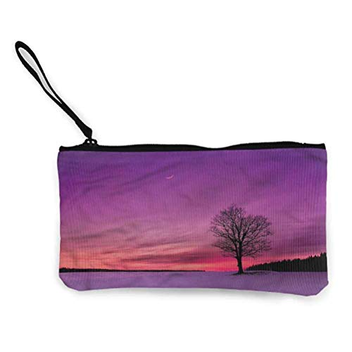 Night Sky Zipper Coin Pouch Zipper Storage Case Cosmetic Bags Full Moon Cherry Blossom
