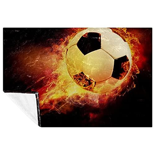 BestIdeas Fuego de fútbol negro con impresión de pelota deportiva suave y cálida manta acogedora para cama, sofá, picnic, camping, playa, 150 x 100 cm
