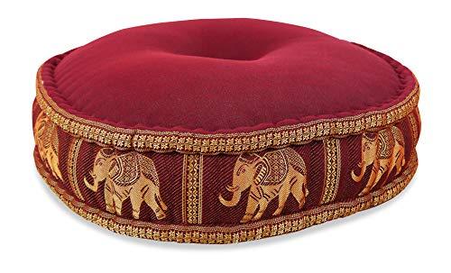 livasia Zafukissen Seide mit Kapokfüllung, Meditationskissen, Yogakissen, rundes Sitzkissen/Bodenkissen (rot/Elefanten)