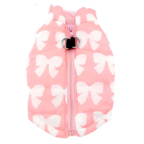 SMALLLEE_LUCKY_STORE New Various Pet Cat Dog Soft Padded Vest Harness Small Dog Clothes Pink Bow S, Model: BFL049-Pink-S