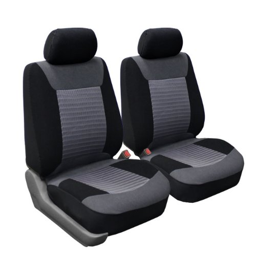 FH Group FB062GRAY102 Seat Cover (Premium Fabric with 3D Air Mesh Airbag Compatible (Set of 2) Gray)