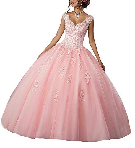 Carnivalprom Damen V-Ausschnitt Quinceanera Kleider Mit Spitze Abendkleider Lang Hochzeitskleider Elegant Ballkleid(Hellrosa,44)