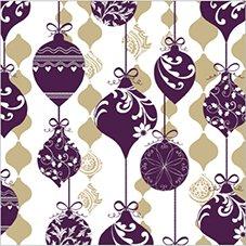 DECORLINE -20 Serviettes en Papier Noël ' Sparkle Ornament Violet/Gold' - 33x33 cm-3 Plis