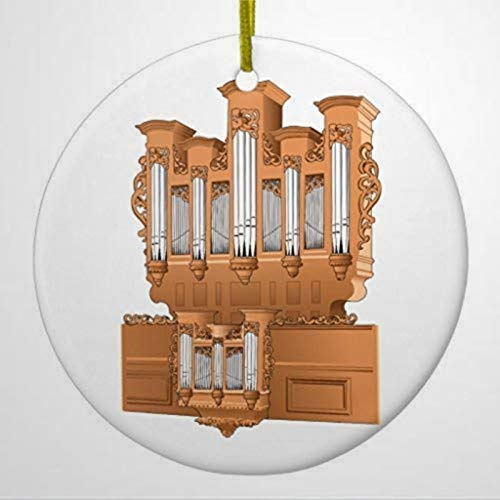 BYRON HOYLE Christmas Hanging Ornament Pipe Organ Church Organ Graphic Brown Ceramic Ornament Circle Christmas Ornaments Pandemic Xmas Decor Holiday present
