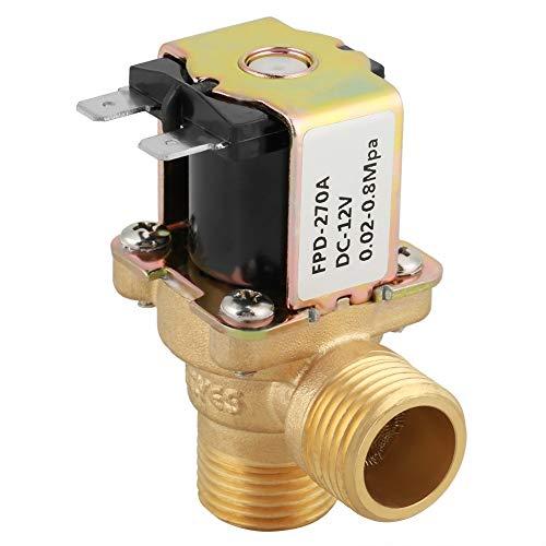 SUNTAOWAN Válvula N/C de Entrada de Agua de la válvula, DC 12V 0.02-0.8Mpa DN15 G1 / 2 latón Estable Interruptor Normalmente Cerrado Válvula electromagnética eléctrica de Entrada de Agua con Filtro