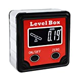 Digital Bevel Box 360° (4 x 90°) Angle Finder w/Tilt Direction Indicator, Protractor Level Gauge Magnetic Base, Inclinometer Cube Meter Measurement Tool for Woodworking Installation