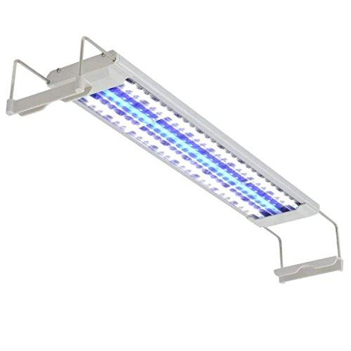 NICREW Iluminación LED para Acuario, Pantalla Luz lED de Acuario, Lámpara LED Blanco y Azul para Acuarios de Peces y Estanques Soporte Ajustable 16W 50-60 cm con Enchufe
