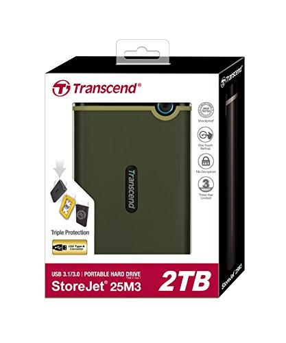 TranscendUSB3.02.5インチスリムポータブルHDD耐衝撃M3シリーズミリタリーグリーン2TB3年保証TS2TSJ25M3G