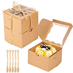 Size: The dessert boxes with window are 4x4x2.5 inches, perfect size for cakes, pies, muffins. Material: The donut boxes are made from high-Quality solid paperboard, Durable and strong, provides better support and storage for all your delicious desse...