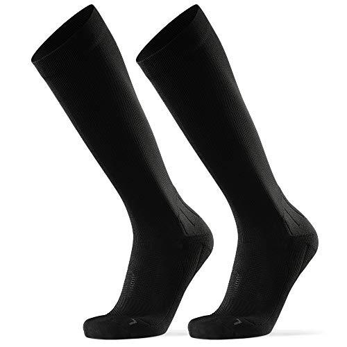 DANISH ENDURANCE Abgestufte Kompression Socken für Männer & Frauen 2 Paare (Einfarbig Schwarz, EU 43-47)