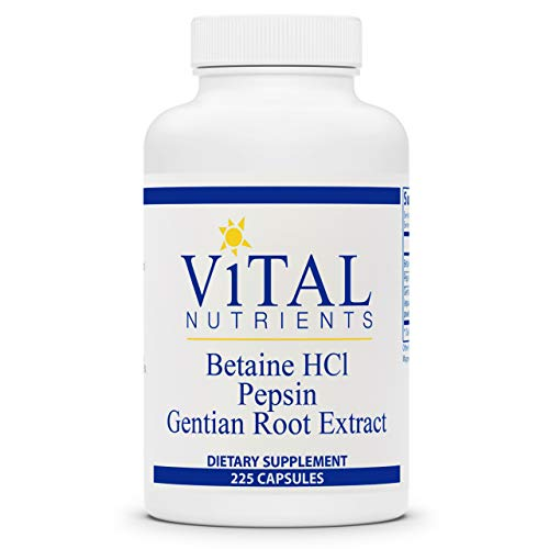 Vital Nutrients - Betaine HCL Pepsin and Gentian Root Extract - Powerful Digestive Support for The Stomach - Gluten Free - 225 Capsules per Bottle