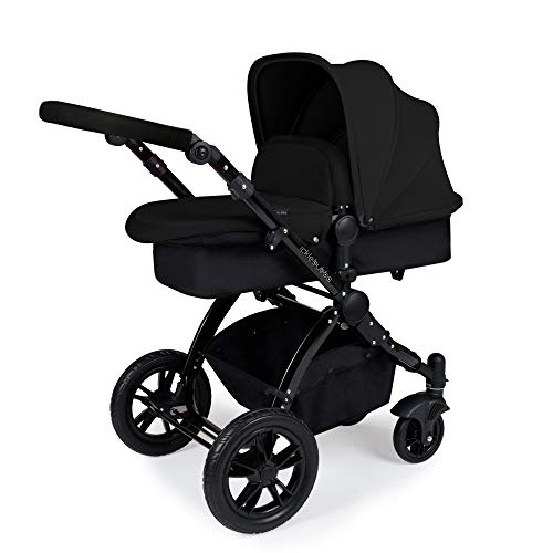 Ickle Bubba Stomp V2 All in One Travel System | Bundle Includes Carrycot, Pushchair, Car Seat, Accessories | Black on Black Chassis