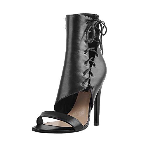 Only maker Damen Sandaletten Open Toe Lace Up Stiletto High Heels Sandalen Stiefel Sommer Lederimitat Schwarz 43 EU