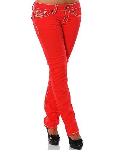Daleus Damen Jeans Straight Leg (Gerades Bein Dicke Nähte Naht weitere Farben) No 12923, Rot, 36