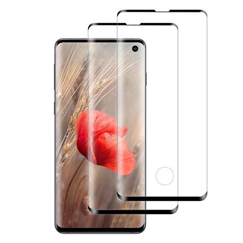 XSWO [2 Pezzi Vetro Temperato Galaxy S10, Protezione Schermo Samsung Galaxy S10 [3D Curvo Copertura Completa] [Alta Sensibilità] [Durezza 9H] [Senza Bolle] [Anti-Impronte] Pellicola Protettiva