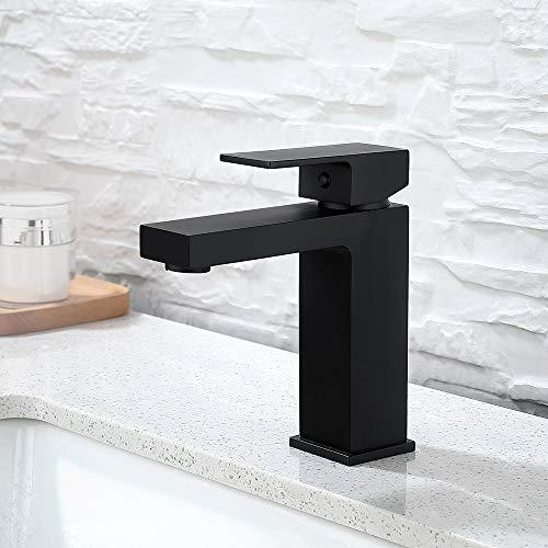 DUTRIX grifo lavabo de cobre negro mate lavabo frío y caliente lavabo grifo lavabo negro baño hogar bajo encimera lavabo grifo