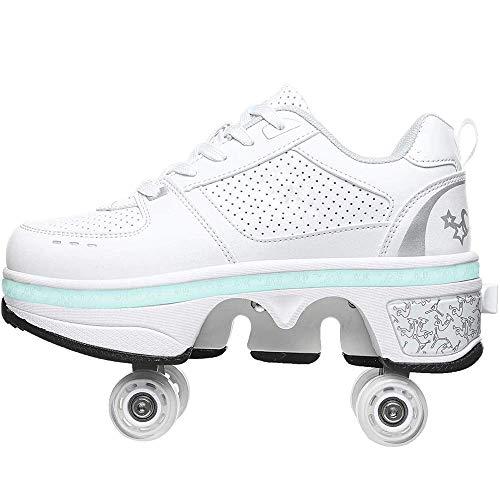 woyaochudan 2 en 1 Patines de polea extraíbles Patinaje automático Zapatos para Caminar patín de Ruedas Invisible, con luz LED de 7 Colores, EU33