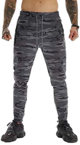 ASKSA - Pantaloni da jogging da uomo, per jogging, jogging, sport, fitness, con chiusura lampo, slim fit, per il tempo libero Grigio scuro mimetico. L