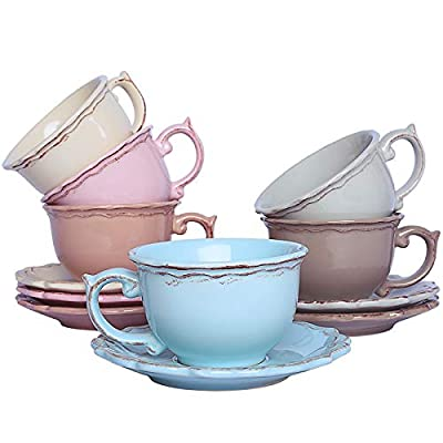 Kylimate British Tea Cup And Saucer Set, Serve For 6, 8.5 OZ/Cup, Coffee Mug Set, Gift Package, (6 Colors)