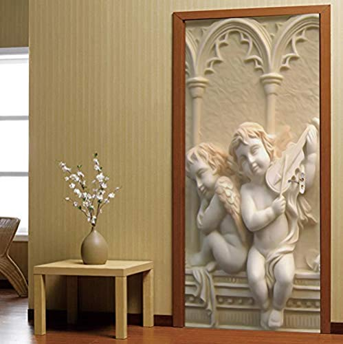 Door Stickers Self Adhesive Wall Stickers 3D Relief Angel Sculpture Waterproof Door Decal Door Wall Murals Wallpaper Sticker