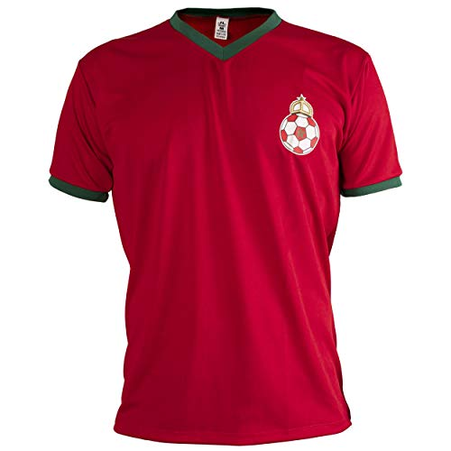 JL Sport Marruecos Camiseta Retro Fútbol Hombrega Corta para Hombre - S