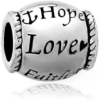 Third Time Charm Hope Love Faith Charm Beads Fits European Charm Bracelet