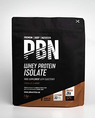 Premium Body Nutrition - Aislado de proteína de suero de leche en polvo (Whey-ISOLATE), 1 kg, sabor chocolate (33 porciones)