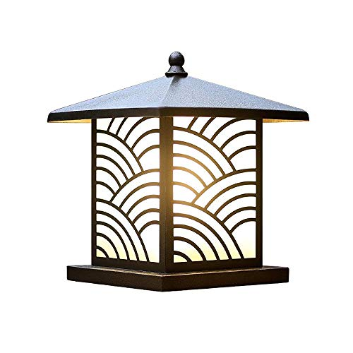 Nfudishpu Vintage European Outdoor Pillar Post Light Square IP44 Waterproof Column Lamp Glass Lantern E27 Retro Grass Gate Lamp Continental Fence Villa Garden Lamp Patio Light Table Lamps For outdoor