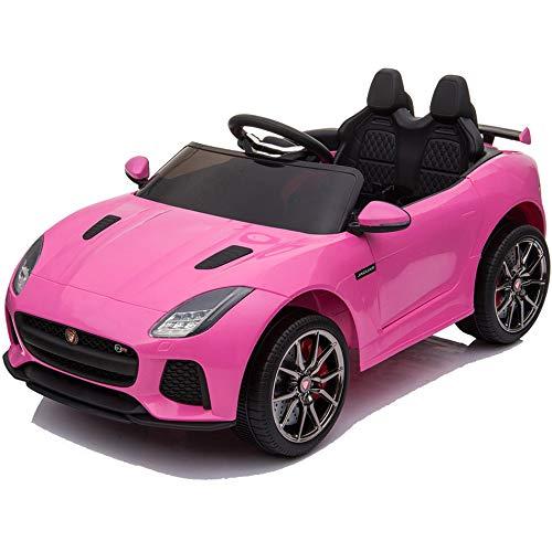 BC BABY COCHES Jaguar F-Type SVR Coche eléctrico para niños con batería 12v, Mando Control Remoto teledirigido para Padres, Licencia Oficial, asa de Transporte y Maletero. (Rosa)