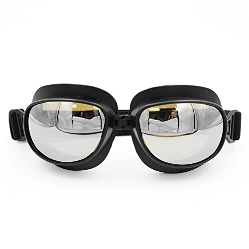 LEAGUE&CO 15 Farben Retrodesign Motorradbrille Schutzbrille Fliegerbrille ATV Brille für Harley Honda Yamaha (Schwarz, Silber)